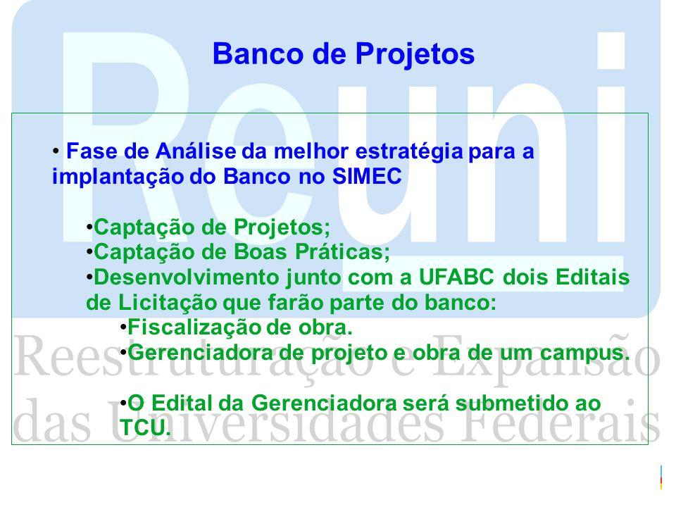 Banco de ProjetosFase de Análise da melhor estratégia para a implantação do Banco no SIMEC. Captação de Projetos;