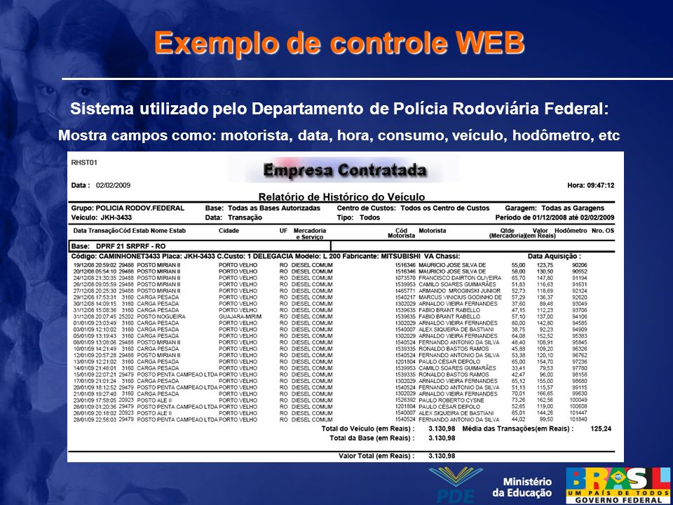 Exemplo de controle WEB