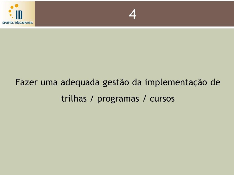 4 Fazer uma adequada gestão da implementação de trilhas / programas / cursos