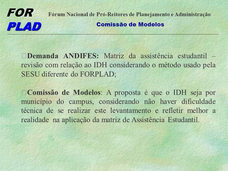 Demanda ANDIFES: Matriz da assistência estudantil – revisão com relação ao IDH considerando o método usado pela SESU diferente do FORPLAD;