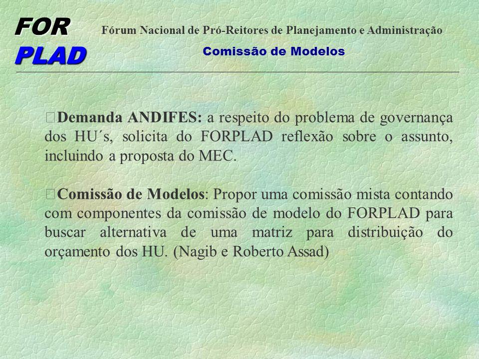Demanda ANDIFES: a respeito do problema de governança dos HU´s, solicita do FORPLAD reflexão sobre o assunto, incluindo a proposta do MEC.