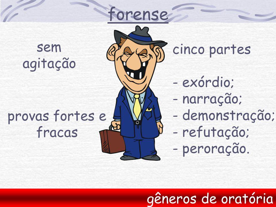forense sem cinco partes agitação - exórdio; - narração;