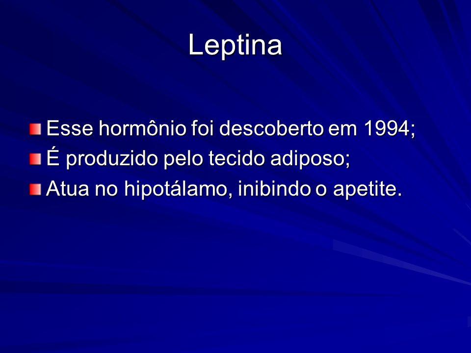 Leptina Esse hormônio foi descoberto em 1994;