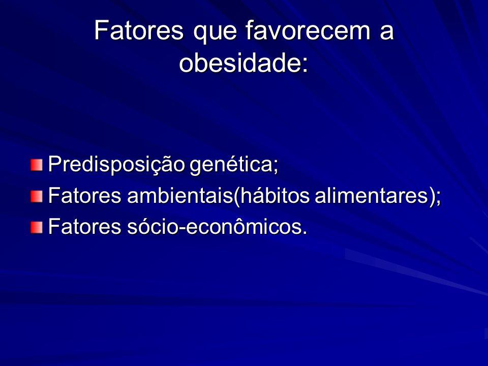 Fatores que favorecem a obesidade: