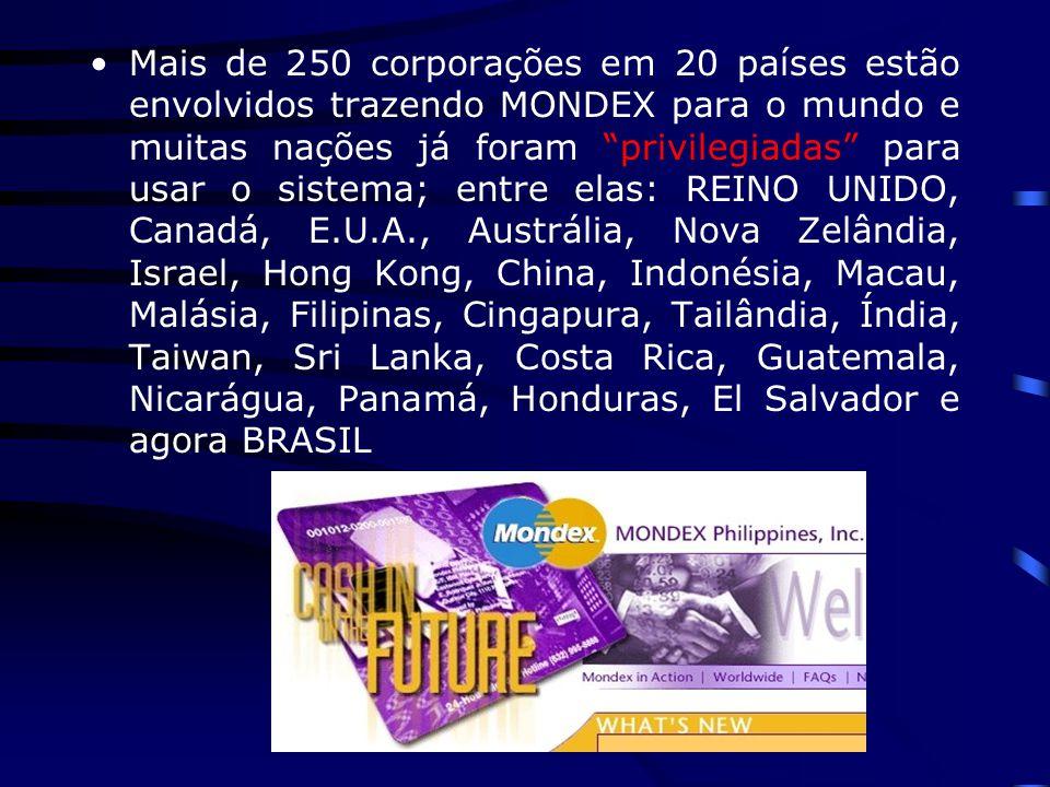 Mais de 250 corporações em 20 países estão envolvidos trazendo MONDEX para o mundo e muitas nações já foram privilegiadas para usar o sistema; entre elas: REINO UNIDO, Canadá, E.U.A., Austrália, Nova Zelândia, Israel, Hong Kong, China, Indonésia, Macau, Malásia, Filipinas, Cingapura, Tailândia, Índia, Taiwan, Sri Lanka, Costa Rica, Guatemala, Nicarágua, Panamá, Honduras, El Salvador e agora BRASIL
