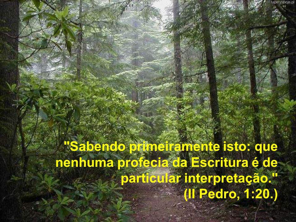 Sabendo primeiramente isto: que nenhuma profecia da Escritura é de particular interpretação. (II Pedro, 1:20.)