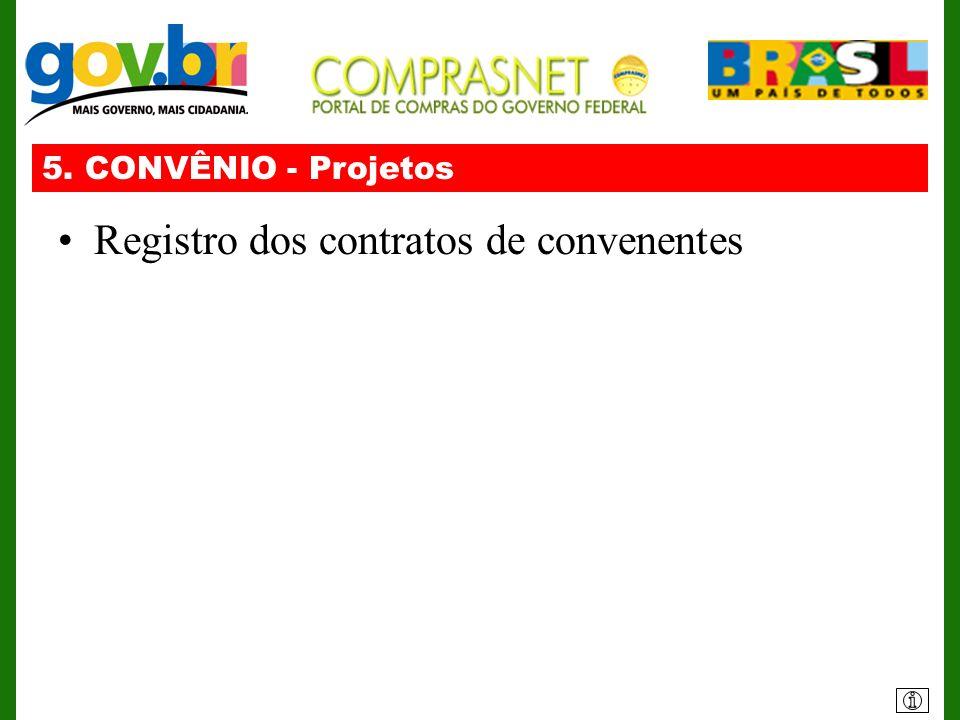 Registro dos contratos de convenentes