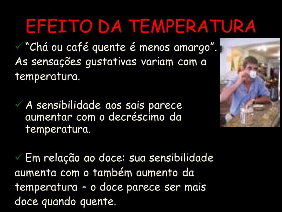 EFEITO DA TEMPERATURA Chá ou café quente é menos amargo .