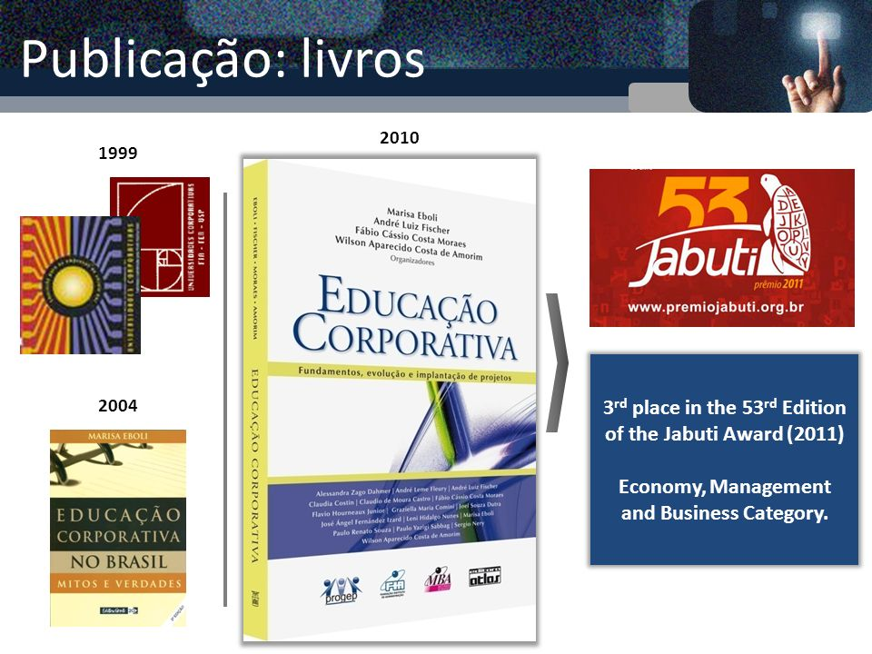 Publicação: livros 2010. 1999. 3rd place in the 53rd Edition of the Jabuti Award (2011) Economy, Management and Business Category.