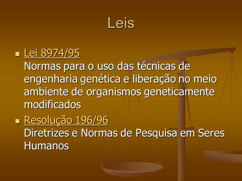 Leis Lei 8974/95 Normas para o uso das técnicas de engenharia genética e liberação no meio ambiente de organismos geneticamente modificados.