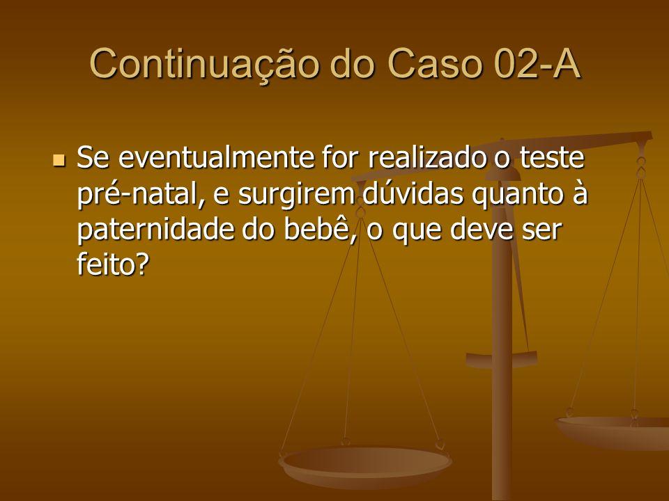 Continuação do Caso 02-A Se eventualmente for realizado o teste pré-natal, e surgirem dúvidas quanto à paternidade do bebê, o que deve ser feito