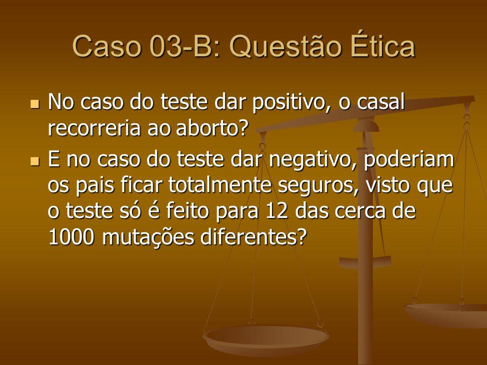Caso 03-B: Questão Ética No caso do teste dar positivo, o casal recorreria ao aborto