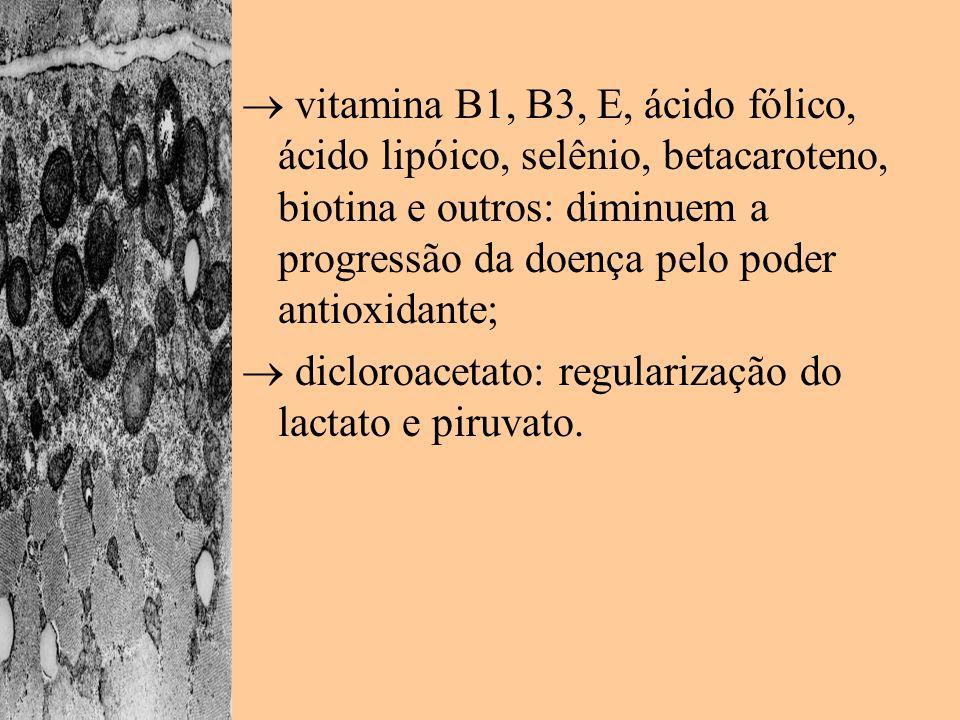  vitamina B1, B3, E, ácido fólico, ácido lipóico, selênio, betacaroteno, biotina e outros: diminuem a progressão da doença pelo poder antioxidante;