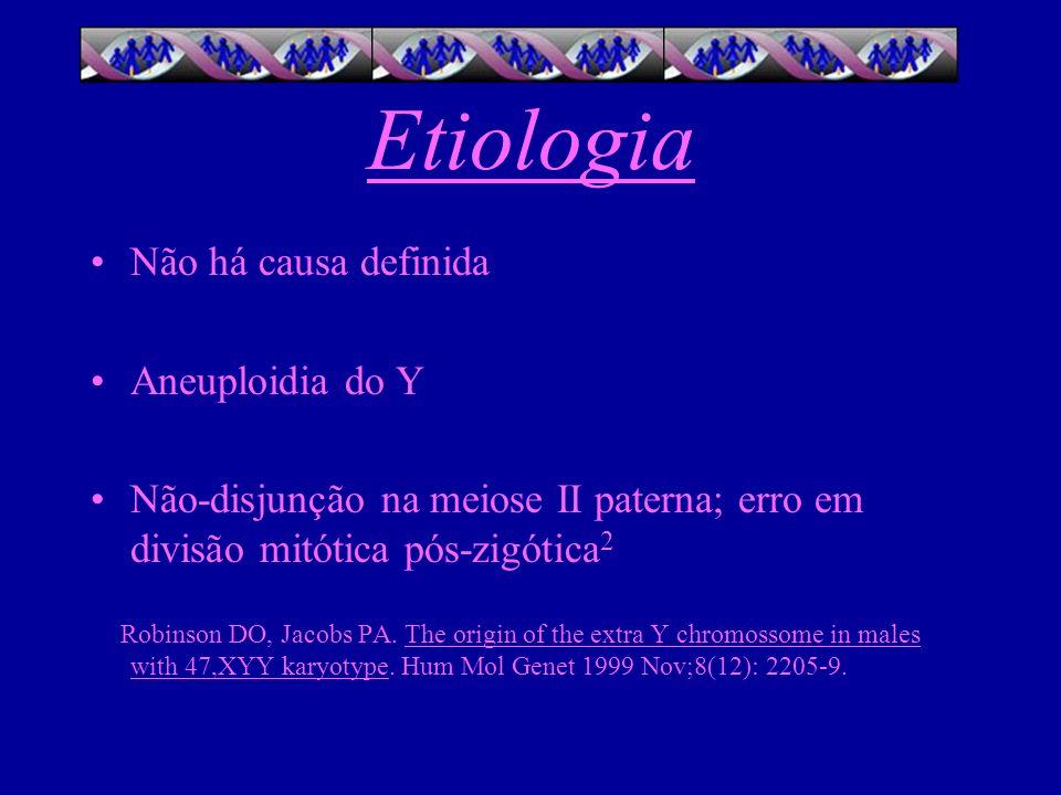 Etiologia Não há causa definida Aneuploidia do Y