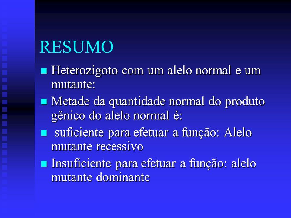 RESUMO Heterozigoto com um alelo normal e um mutante: