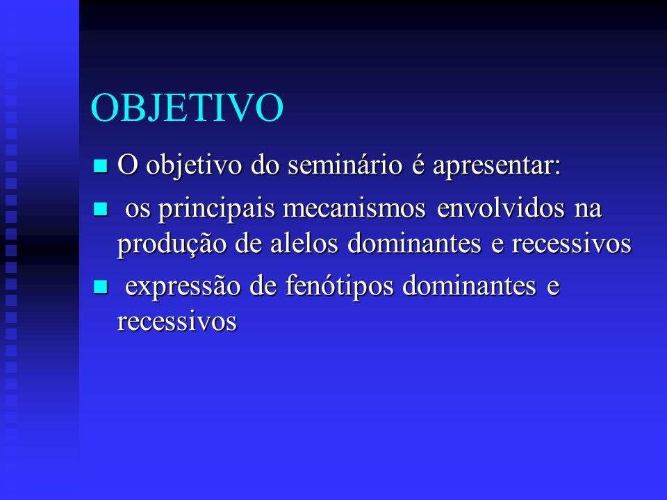 OBJETIVO O objetivo do seminário é apresentar: