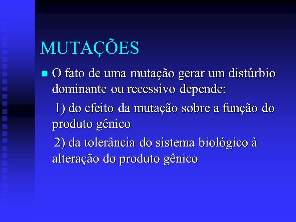 MUTAÇÕES O fato de uma mutação gerar um distúrbio dominante ou recessivo depende: 1) do efeito da mutação sobre a função do produto gênico.