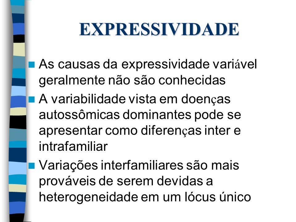 EXPRESSIVIDADE As causas da expressividade variável geralmente não são conhecidas.