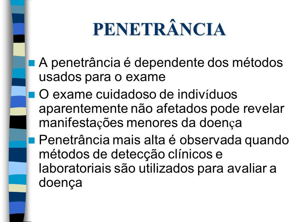 PENETRÂNCIA A penetrância é dependente dos métodos usados para o exame