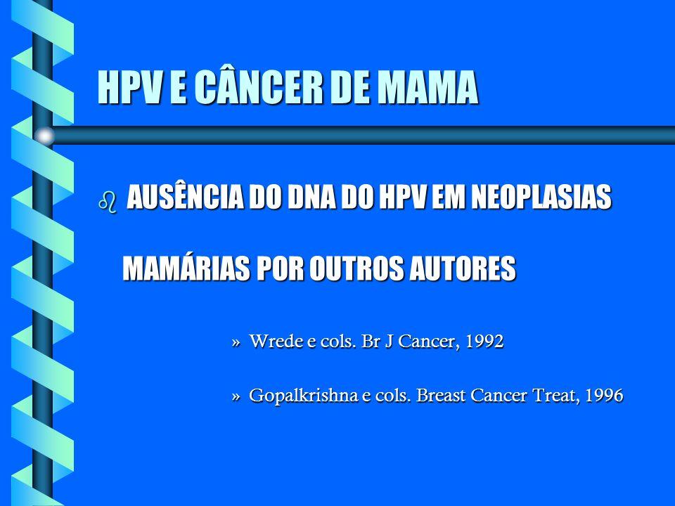 HPV E CÂNCER DE MAMA AUSÊNCIA DO DNA DO HPV EM NEOPLASIAS MAMÁRIAS POR OUTROS AUTORES. Wrede e cols. Br J Cancer, 1992.