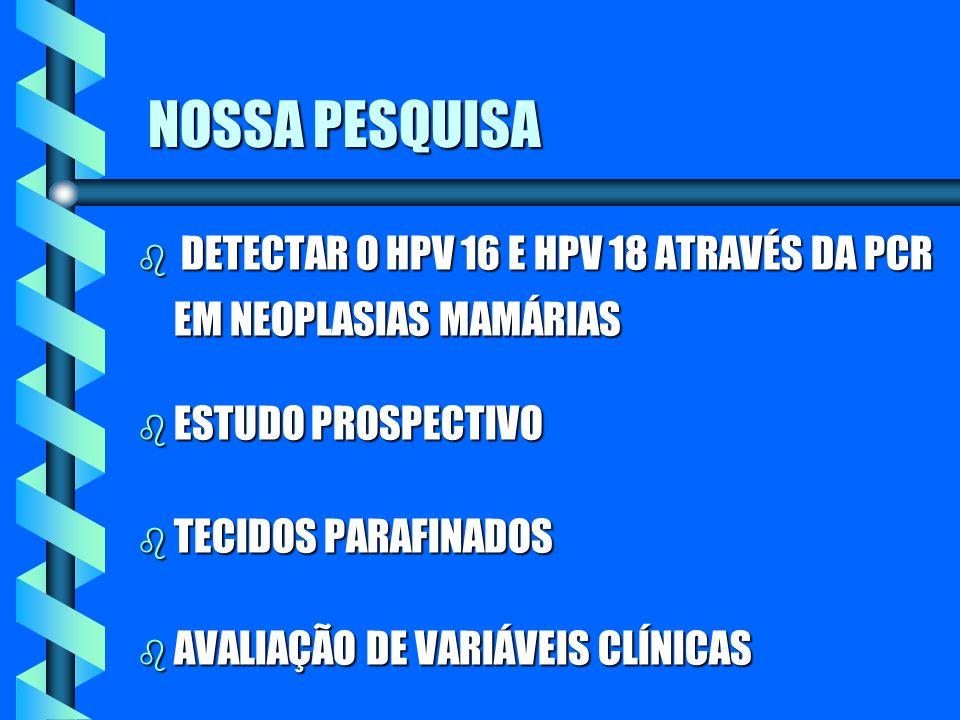 NOSSA PESQUISA DETECTAR O HPV 16 E HPV 18 ATRAVÉS DA PCR EM NEOPLASIAS MAMÁRIAS. ESTUDO PROSPECTIVO.