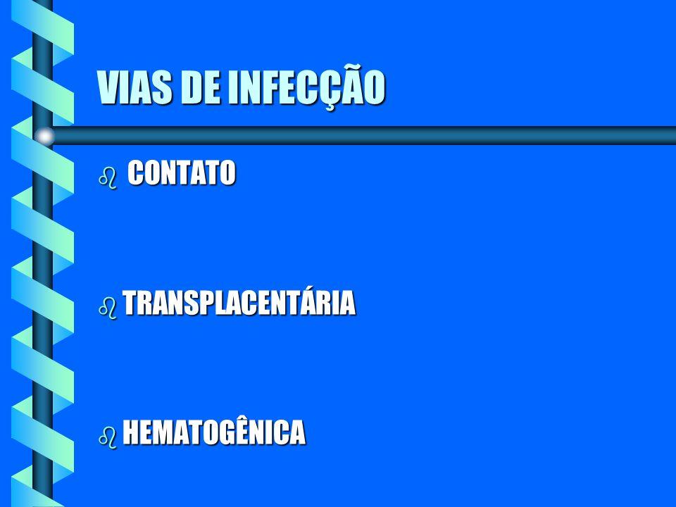VIAS DE INFECÇÃO CONTATO TRANSPLACENTÁRIA HEMATOGÊNICA