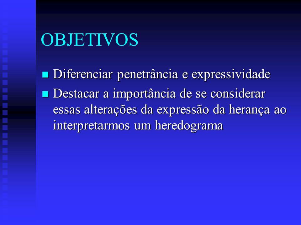 OBJETIVOS Diferenciar penetrância e expressividade