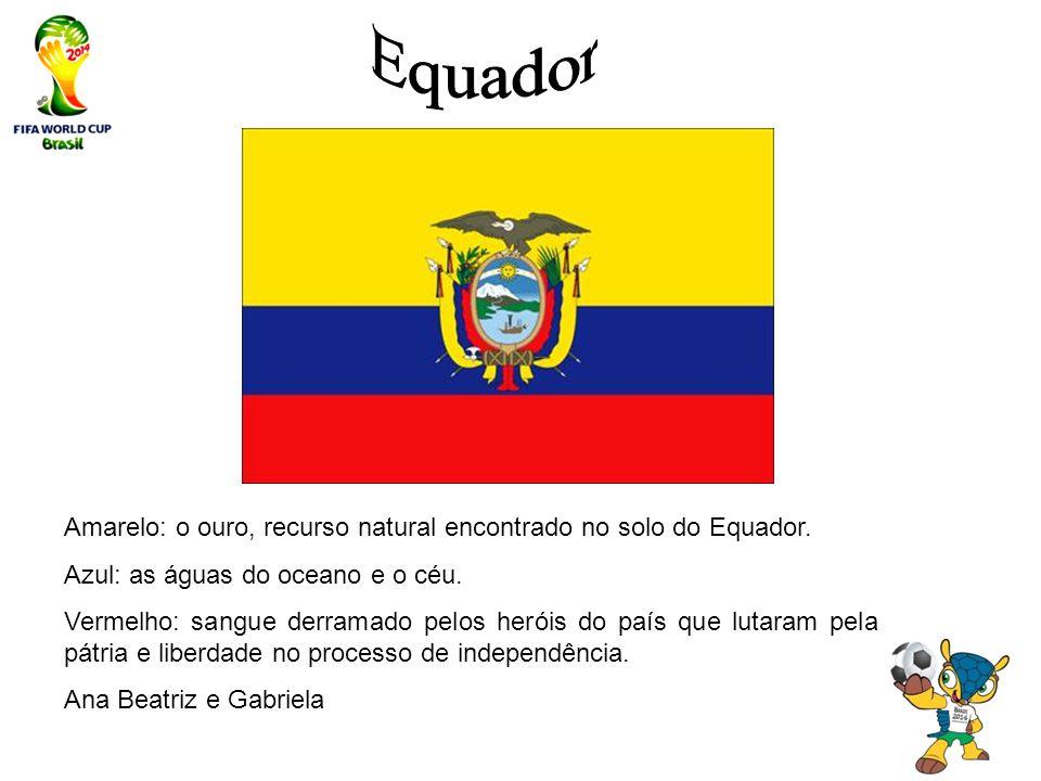Equador Amarelo: o ouro, recurso natural encontrado no solo do Equador. Azul: as águas do oceano e o céu.