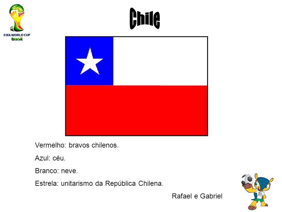 Chile Vermelho: bravos chilenos. Azul: céu. Branco: neve.