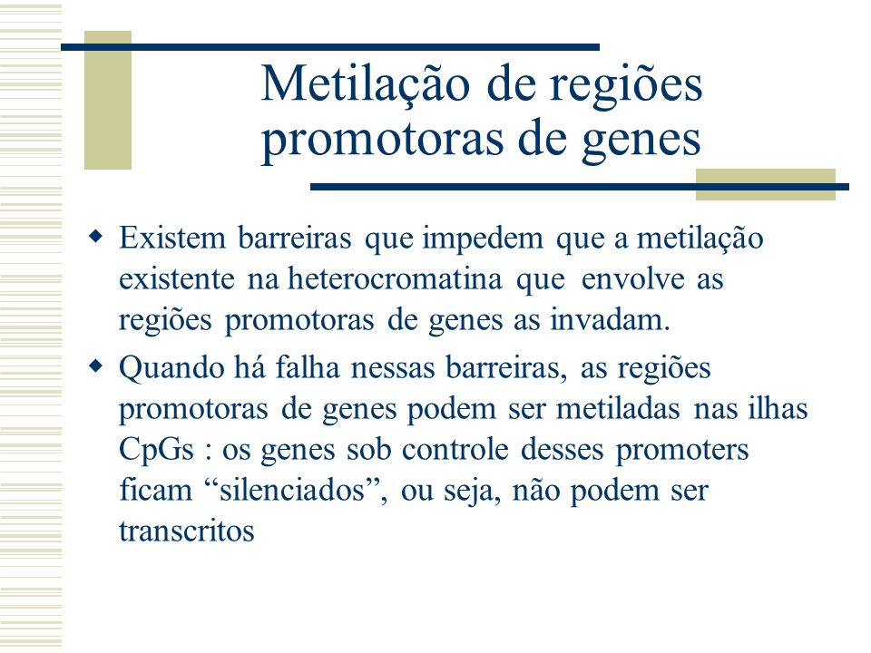 Metilação de regiões promotoras de genes