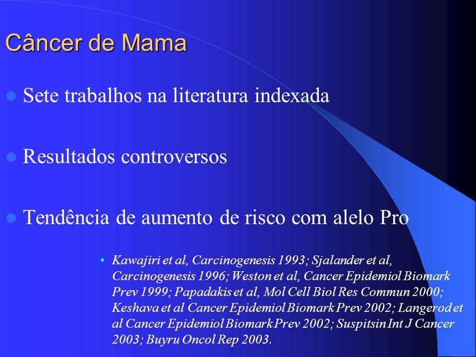 Câncer de Mama Sete trabalhos na literatura indexada