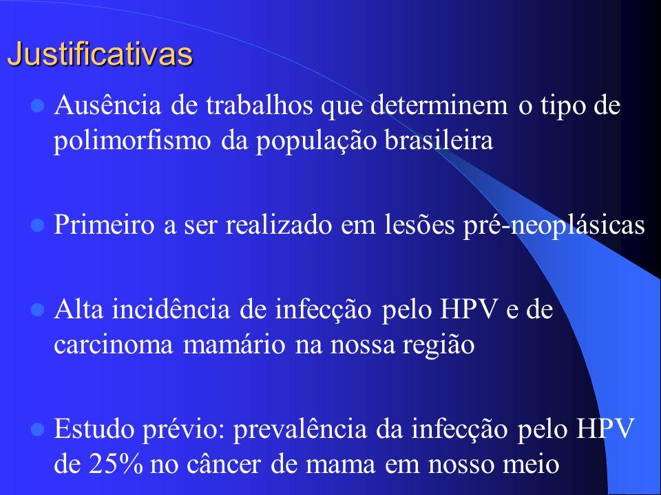Justificativas Ausência de trabalhos que determinem o tipo de polimorfismo da população brasileira.