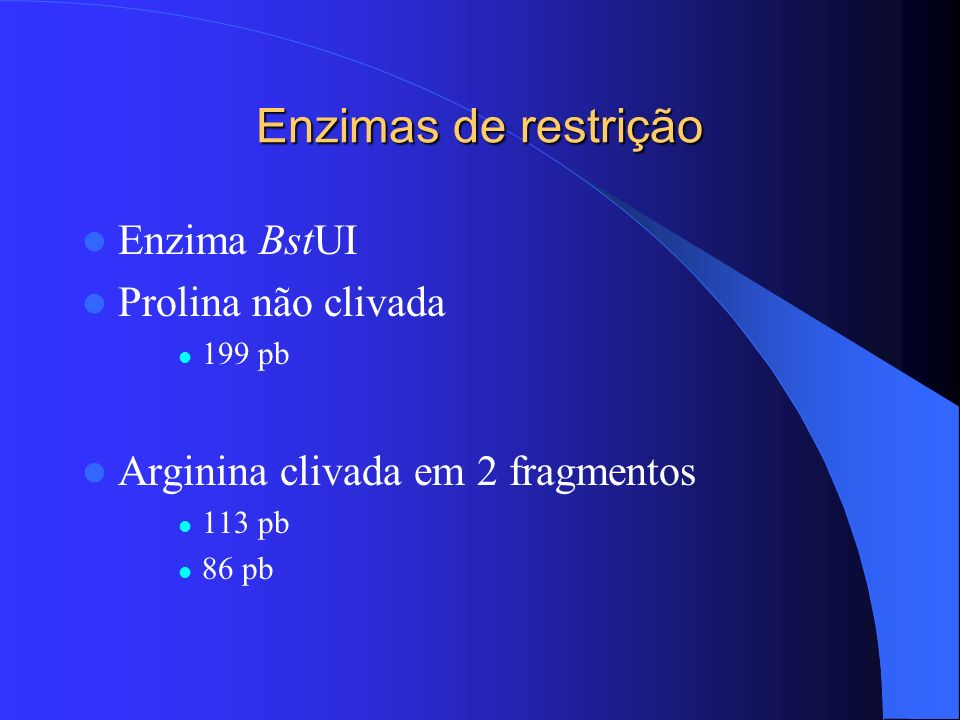 Enzimas de restrição Enzima BstUI Prolina não clivada