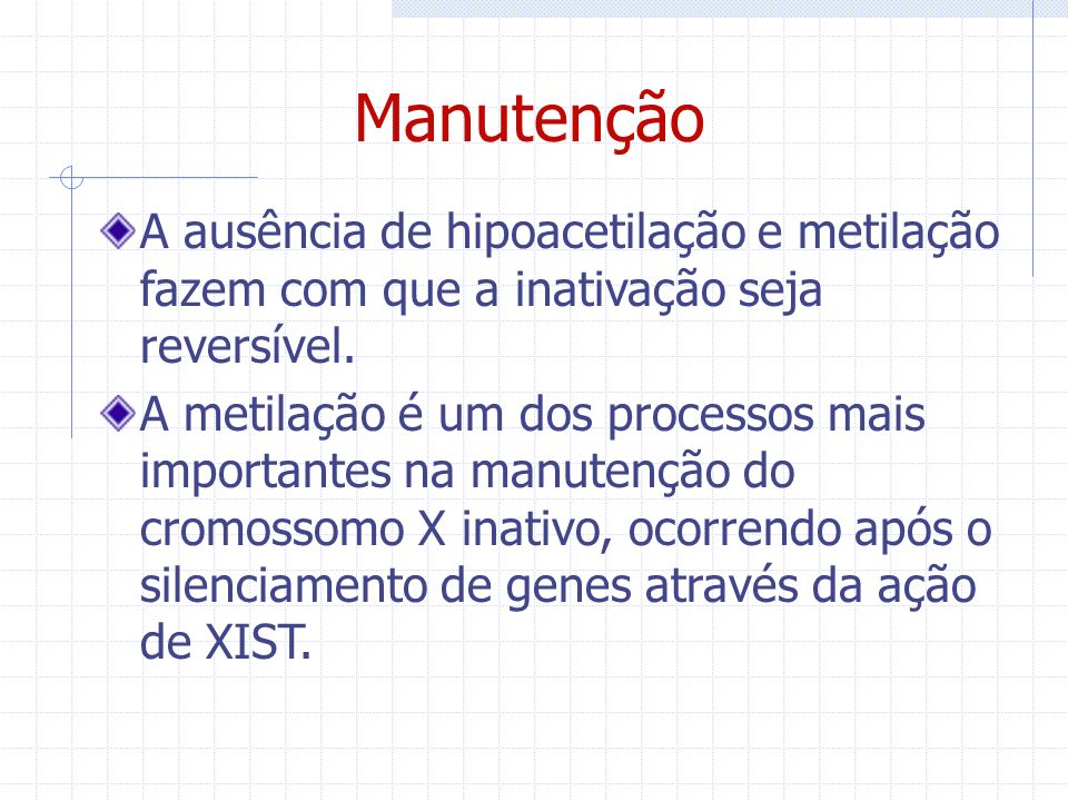 Manutenção A ausência de hipoacetilação e metilação fazem com que a inativação seja reversível.