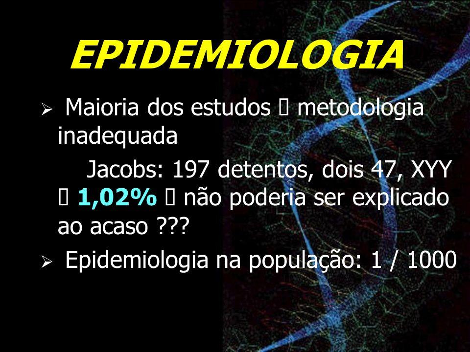 EPIDEMIOLOGIA Maioria dos estudos à metodologia inadequada