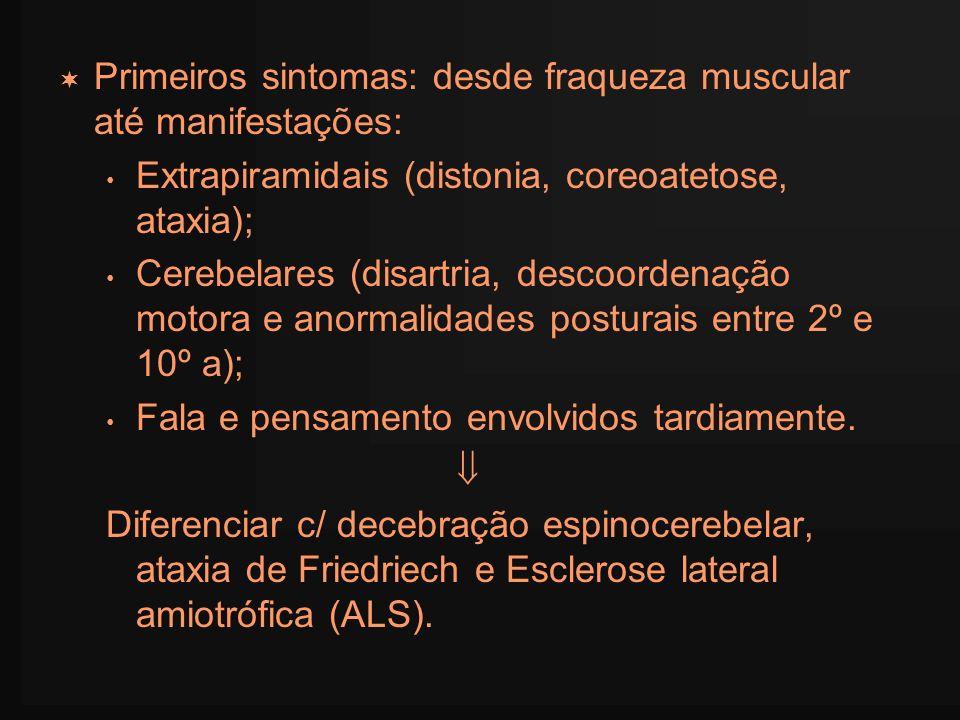 Primeiros sintomas: desde fraqueza muscular até manifestações: