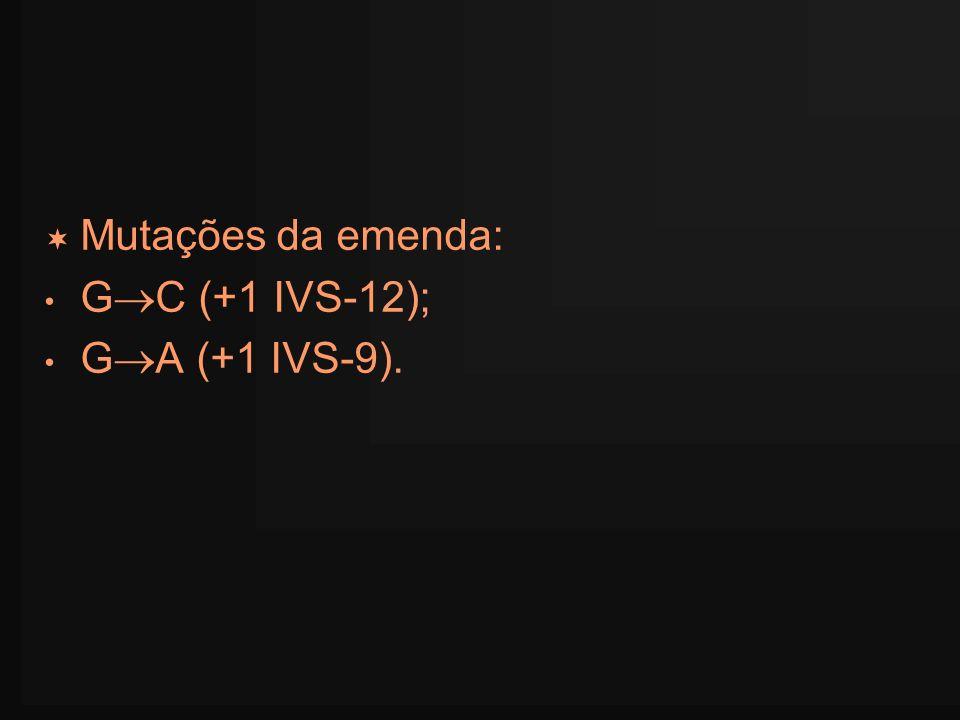 Mutações da emenda: GC (+1 IVS-12); GA (+1 IVS-9).