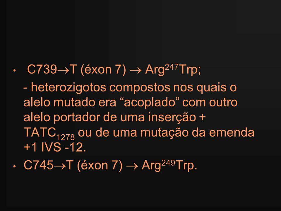 C739T (éxon 7)  Arg247Trp;