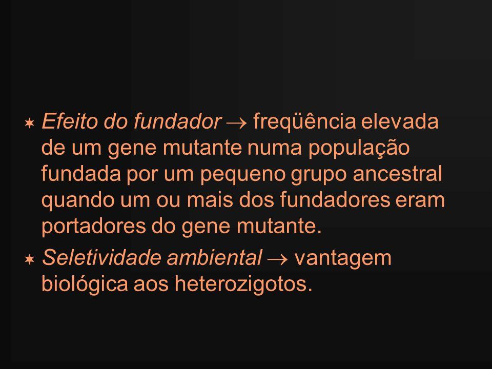 Efeito do fundador  freqüência elevada de um gene mutante numa população fundada por um pequeno grupo ancestral quando um ou mais dos fundadores eram portadores do gene mutante.