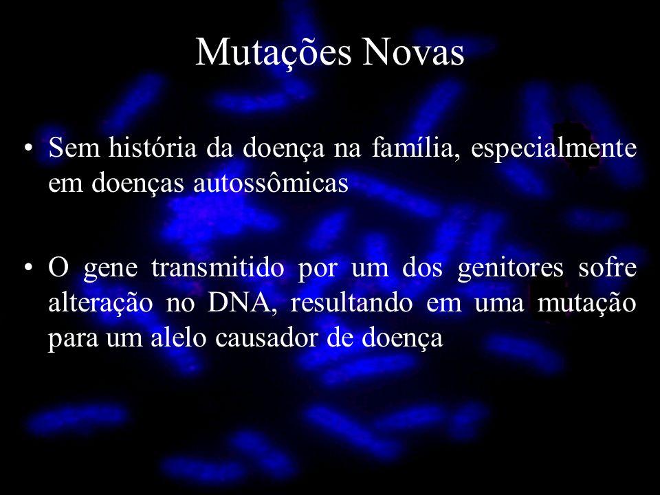 Mutações Novas Sem história da doença na família, especialmente em doenças autossômicas.