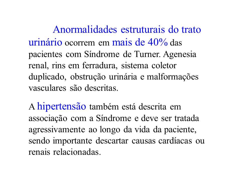 Anormalidades estruturais do trato urinário ocorrem em mais de 40% das pacientes com Síndrome de Turner. Agenesia renal, rins em ferradura, sistema coletor duplicado, obstrução urinária e malformações vasculares são descritas.