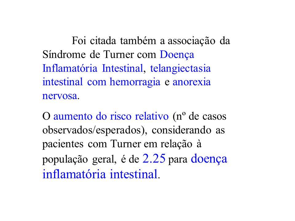 Foi citada também a associação da Síndrome de Turner com Doença Inflamatória Intestinal, telangiectasia intestinal com hemorragia e anorexia nervosa.