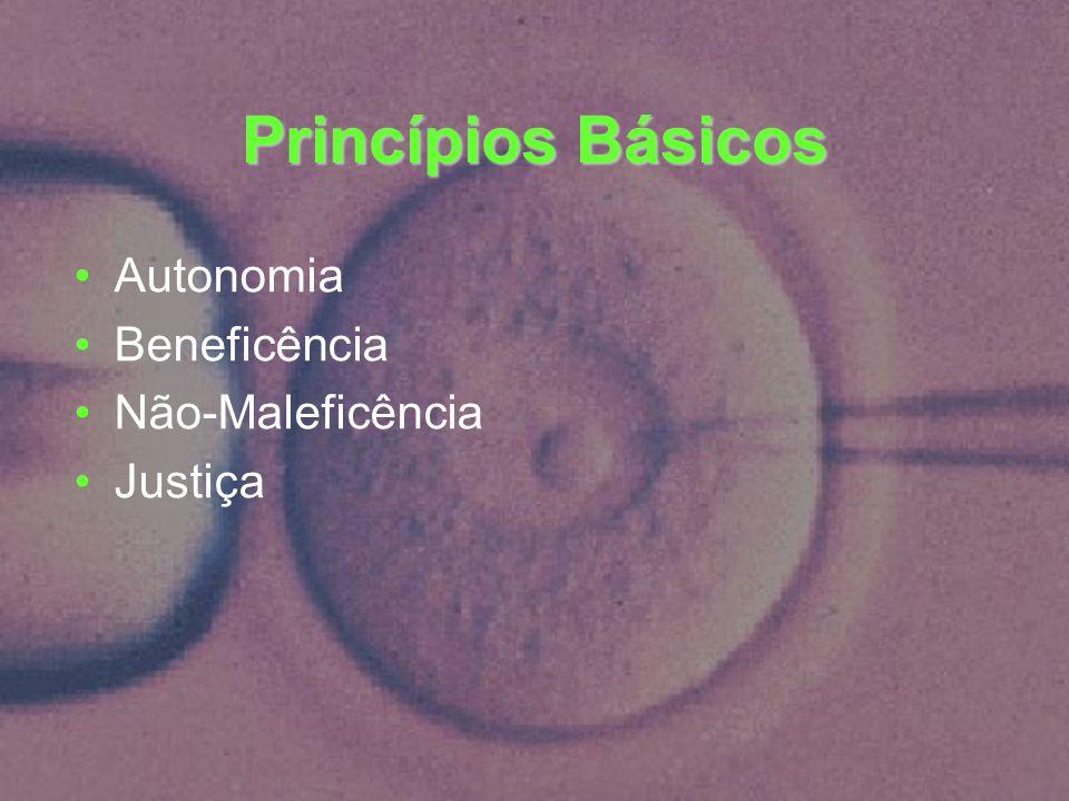 Princípios Básicos Autonomia Beneficência Não-Maleficência Justiça