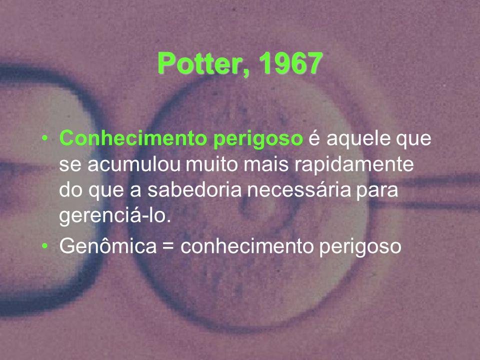 Potter, 1967 Conhecimento perigoso é aquele que se acumulou muito mais rapidamente do que a sabedoria necessária para gerenciá-lo.