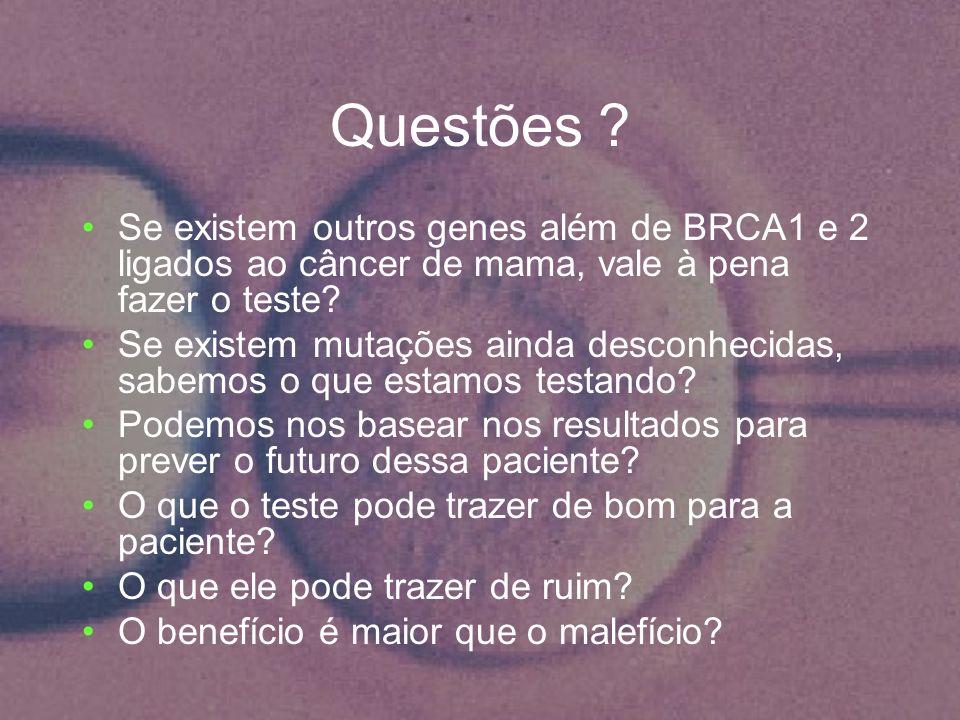 Questões Se existem outros genes além de BRCA1 e 2 ligados ao câncer de mama, vale à pena fazer o teste