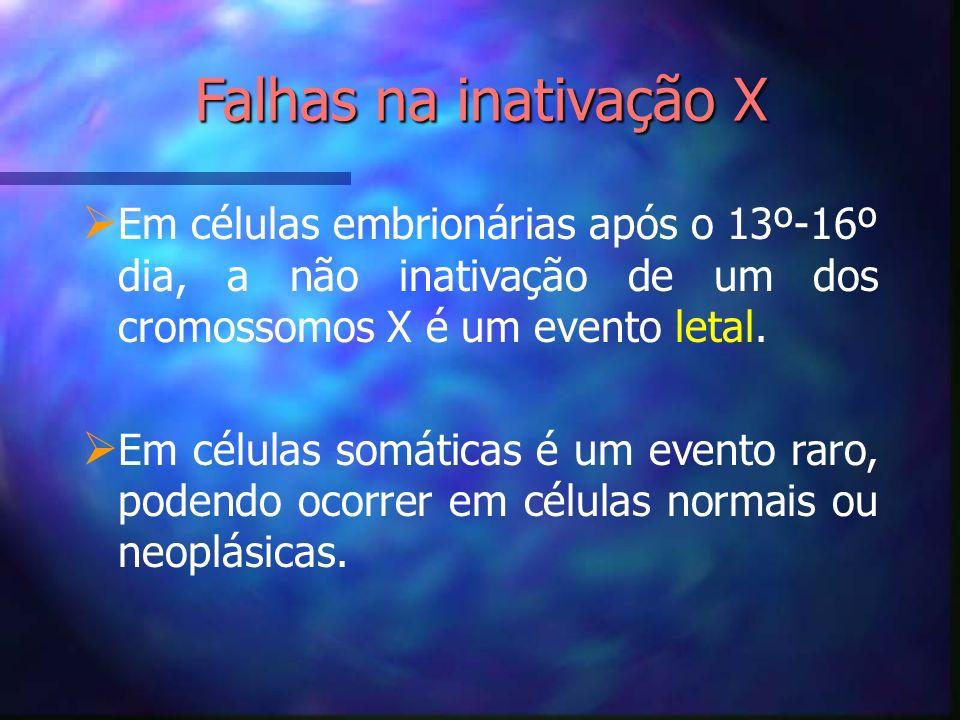 Falhas na inativação X Em células embrionárias após o 13º-16º dia, a não inativação de um dos cromossomos X é um evento letal.