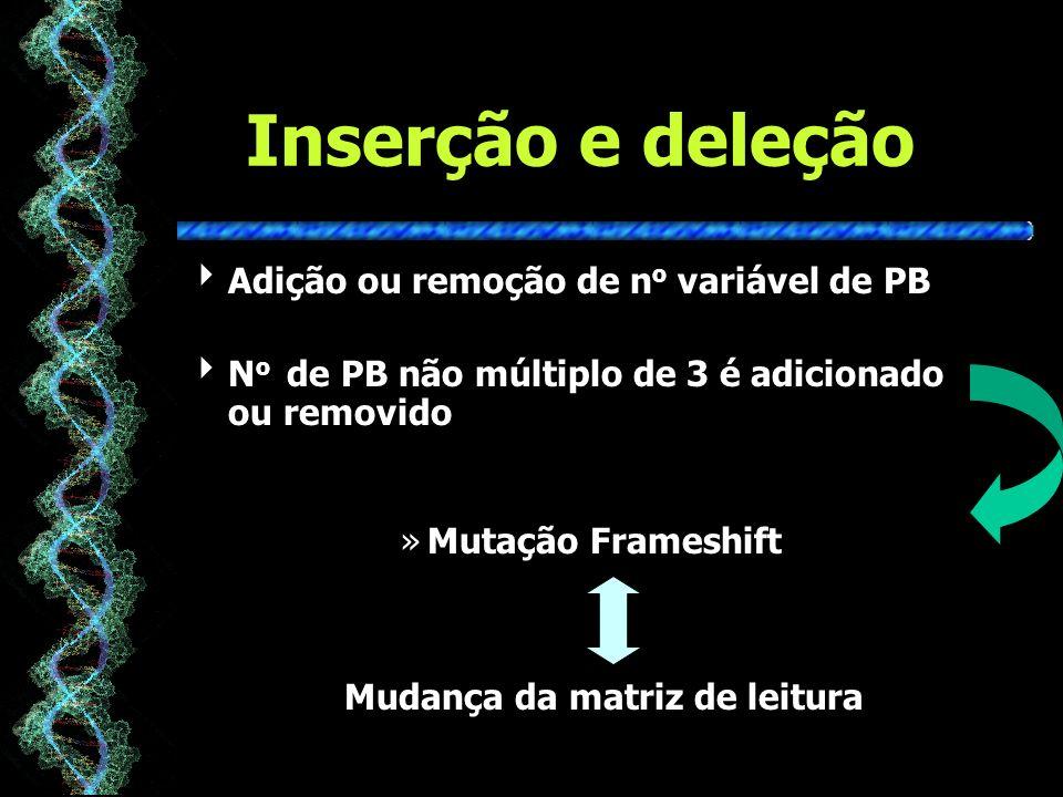 Inserção e deleção Adição ou remoção de no variável de PB