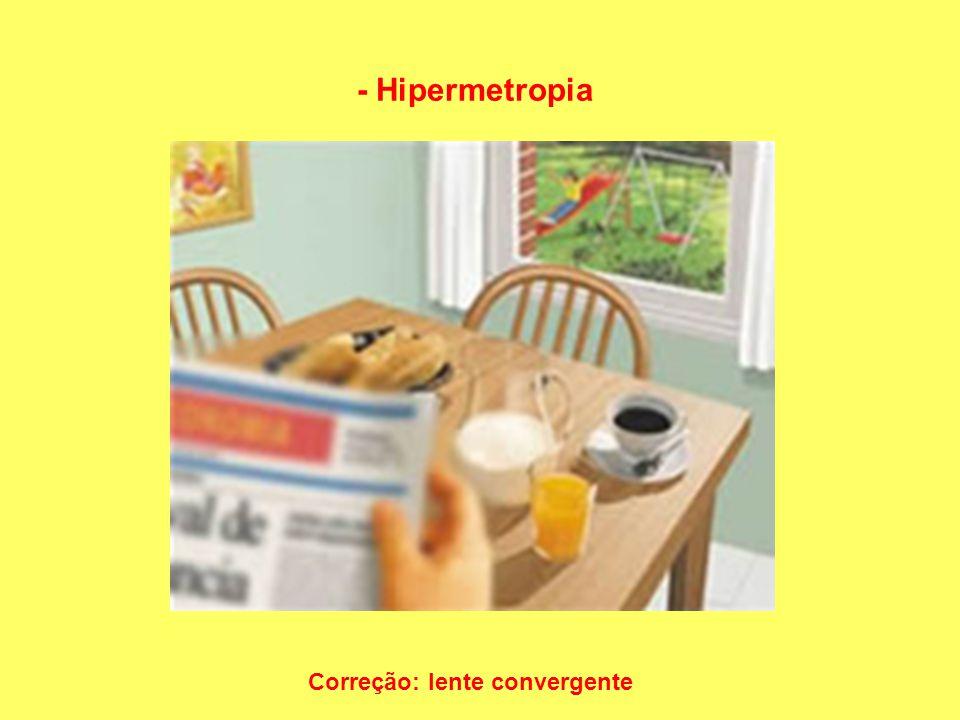 - Hipermetropia Correção: lente convergente