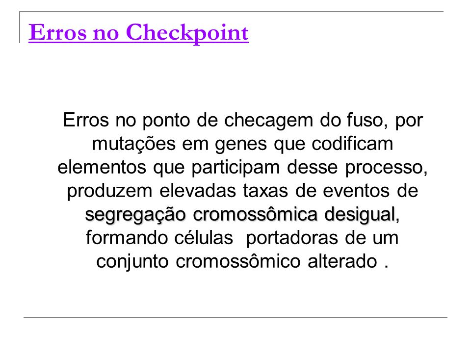 Erros no Checkpoint