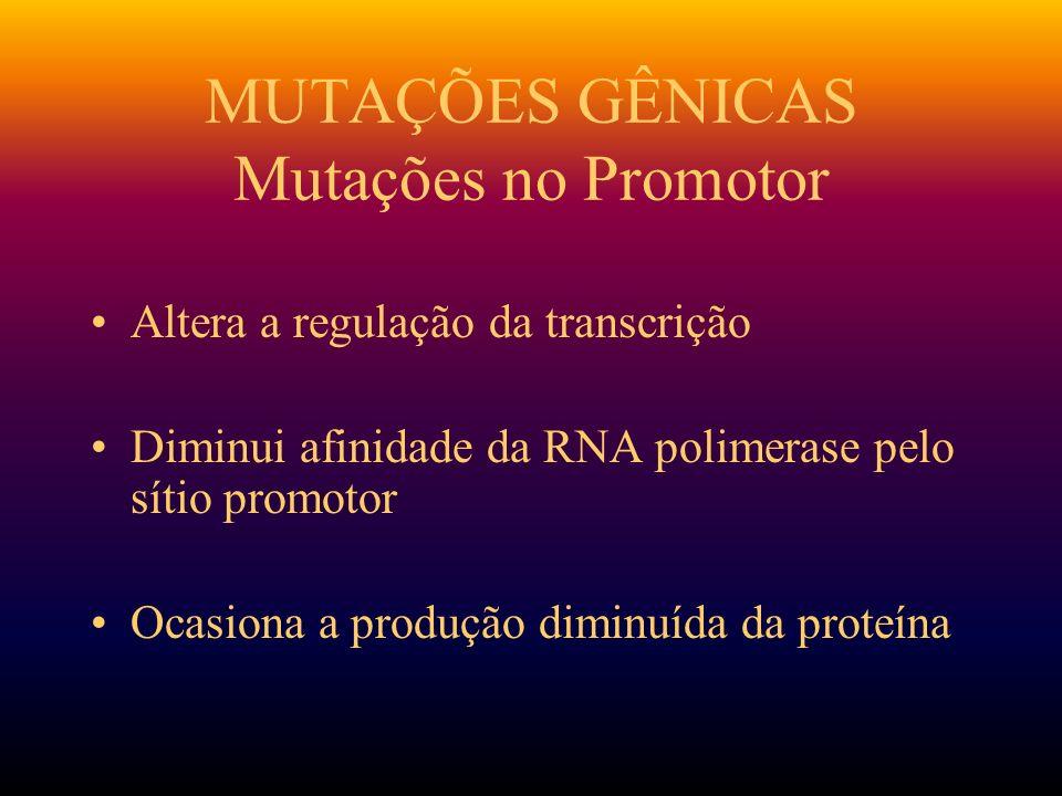 MUTAÇÕES GÊNICAS Mutações no Promotor
